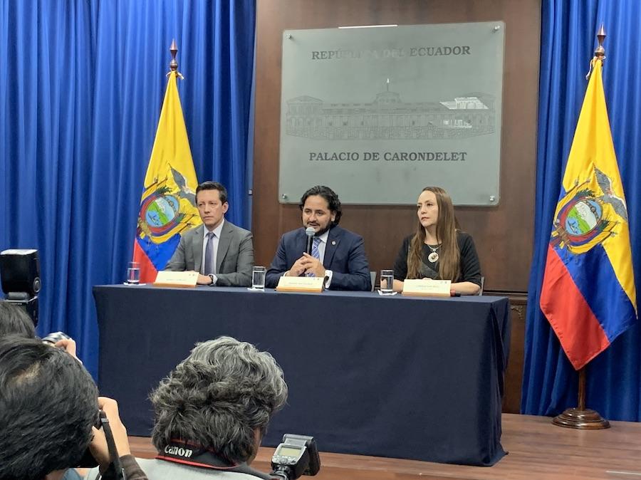 Rueda de prensa: Andrés MIchelena,Ministro de Telecomunicaciones del Ecuador